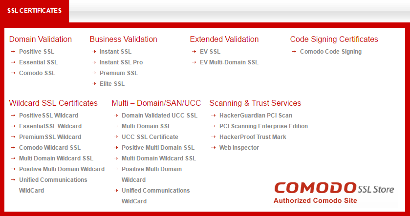 Types Of Comodo Ssl Certificates A Cheapest Source To