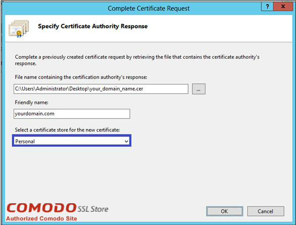 Complete SSL Certificate Request