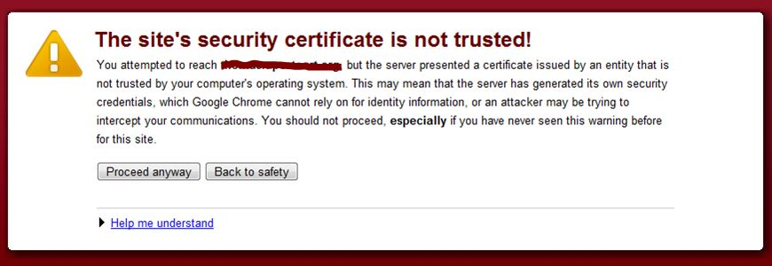 Sites Security Certificate is not Trusted