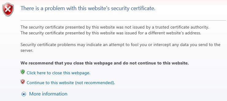 problem with this websites security certificate