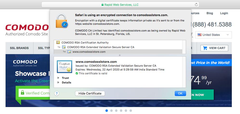 Certificate Details Safari