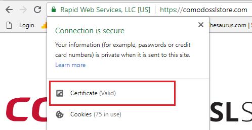 Certificate(valid) Chrome