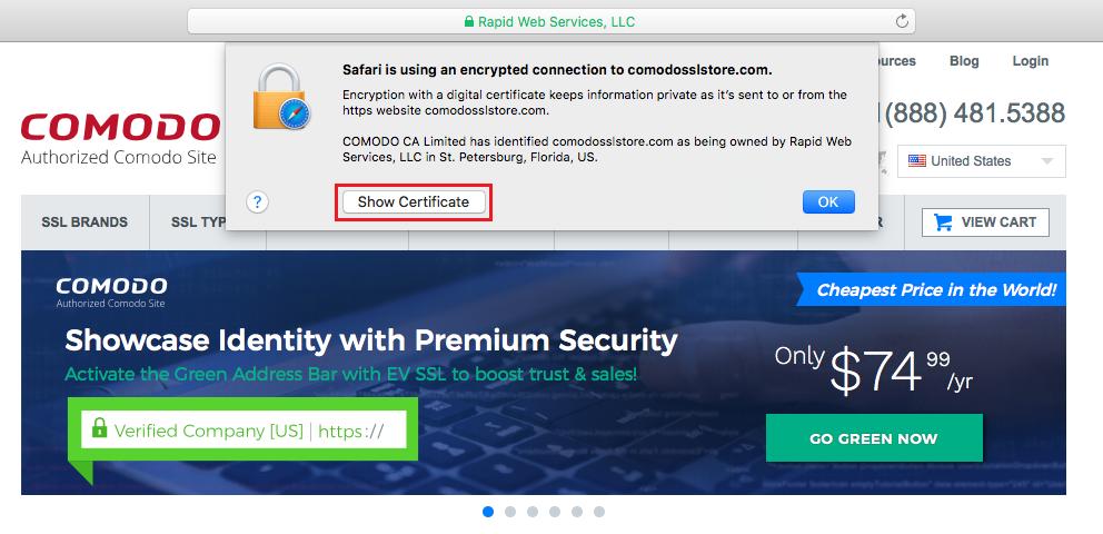 Show Certificate Safari