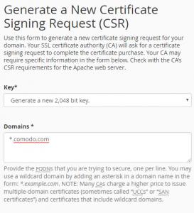 Wildcard certificate csr
