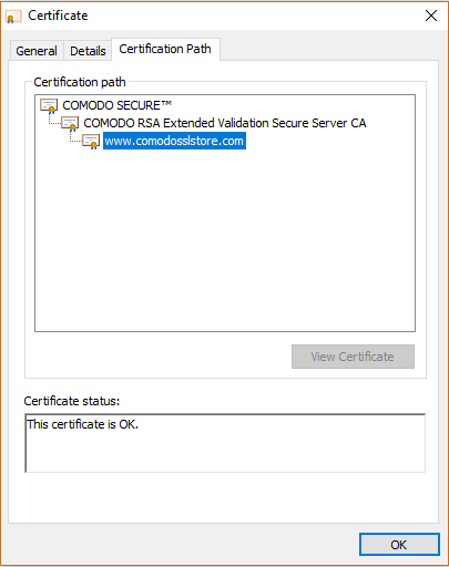 Root CA certificate screenshot: Comodo Root & Intermediate Certificate