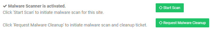 website malware scanner is activated