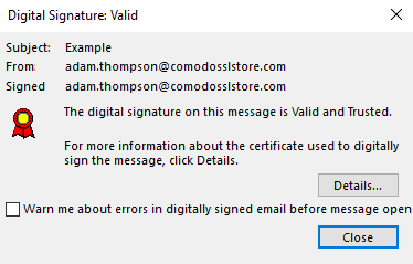 digital signature valid