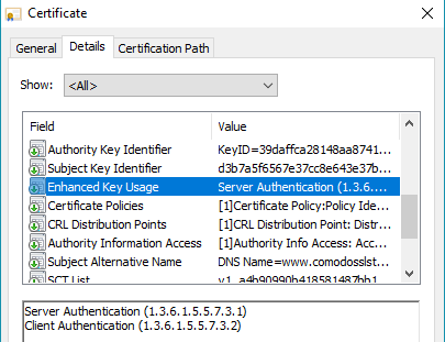 ssl code signing enhanced key usage