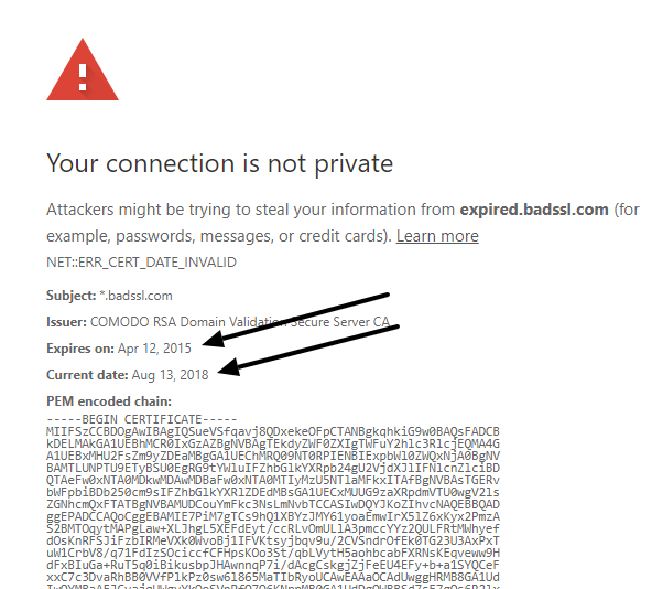 google chrome your connection is not private windows 10