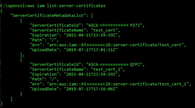 Graphic: Server certificate listing