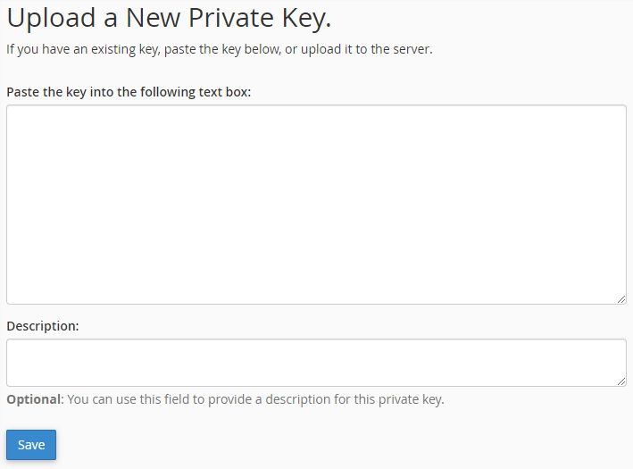 Graphic: Dialogue box to upload a new private key to your server in cPanel