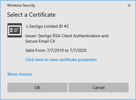 Graphic: Pop-up window for secure email certificate
