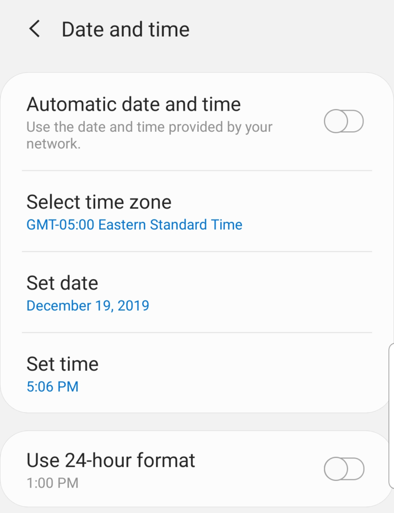 Screenshot of an Android device's date and time settings menu