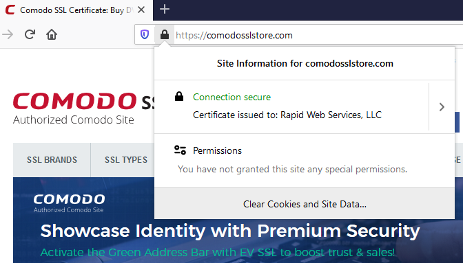 Screenshot of how the website certificate information appears in Google Chrome